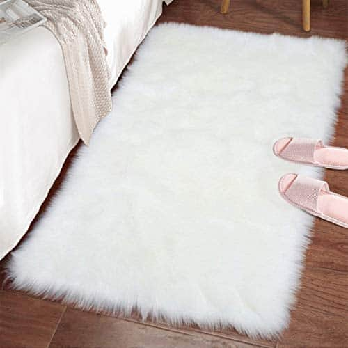 LOCHAS Ultra Soft Fluffy Rugs Faux Fur Sheepskin Area Rug