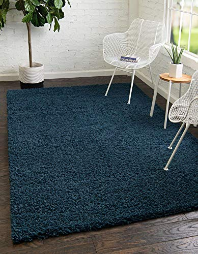 Unique Loom Solo Solid Shag Collection Modern Plush Navy Blue Area Rug